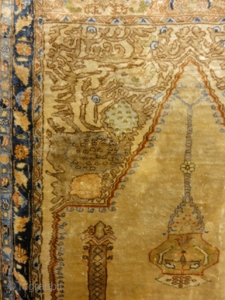 Antique Heriz Unique Silk Meditation Rug