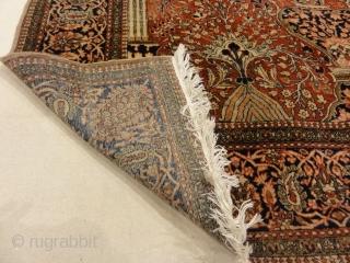 "Antique Persian Mohtashar Kashan Tree of Life Rug Genuine Woven Carpet Art Intricate Detail Design Rugs and More Santa Barbara  4'4"" x 4'6"""