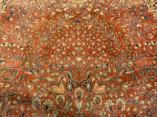 Antique Persian Mohtashar Kashan Tree of Life Rug Genuine Woven Carpet Art Intricate Detail Design Rugs and More Santa Barbara