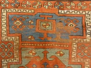 """Antique Fachralo Kazak Rare Prayer Rug from Caucasus Genuine Woven Carpet Art Authentic Santa Barbara Design Center Rugs and More  3'8"""" x 4'9"""""""