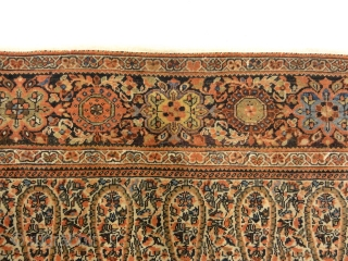 Rare Antique Dated Farahan with Botteh (Paisley) Pattern Genuine Woven Carpet Art