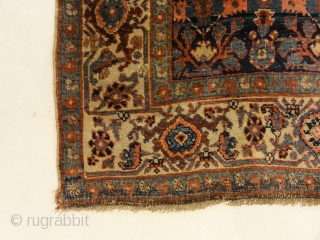 Antique Halvai Bijar Mid 19th Century Wool Foundation Rug - Size: 4' x 6'