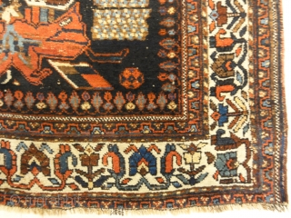 Antique Afshar Persian French Flowers Rug