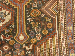 Antique Persian Khamseh Chicken Rug