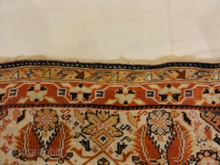Rare Antique Qashqai with Ivory Background - Size: 4 x 6'10""