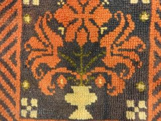 """Antique Swedish Rye Floral Pile Rug 1'9″ x 1'10"""""""
