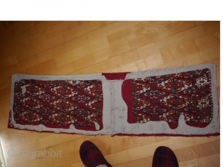 rare 15 gul tekke torba. early 19th century. the number 2 from hoffmeisters torba nr. 45-turkmen carpets. 115x34cm  white spots in the upper part cotton - up to the middle. .................  ...