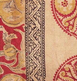 Silk Block Printed Panel ( Indian ? persian?) 141 x 335 cm / 4'7'' x 10'11''