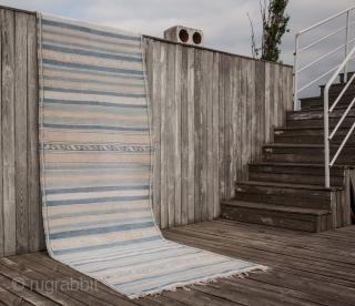 South Persian Cotton Indigo Kilim 97 x 316 cm / 3'2'' x 10'4''