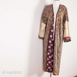 Central asian Tajik Silk Ikat Chapan