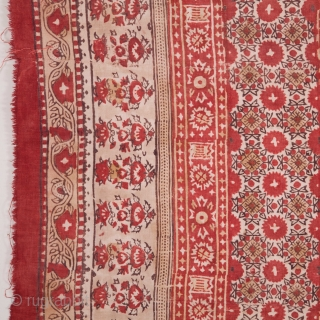 Uzbek Hand Block printed Cotton Blanket Top, Early 20th c. 181 x 232 cm / 5'11'' x 7'7''