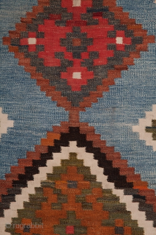 South Persian Kilim, Cotton and Wool Mix , unusual Indigo background 124 x 255 cm / 4'0'' x 8'4''
