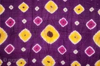 Central Asian Uzbek tie-dye ( cloudy, light and bright ) 132 x 258 cm / 4'3'' x 8'5''