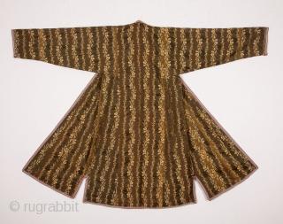 Central Asian Tajik Silk Chapan with great ikat facing a nice Russian Cotton Print