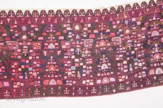 Menidi Attica ( Athens) Embroidered Wedding Shirt Hem, late 19th C. 39 x 215 cm / 1'3'' x 7'0''