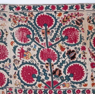 Antique Suzani from Ura Tuıbe Tajistan It has some ware due to harsh use but the colour is superb and it would still be great on a wall with all fantastic details. 173 x  ...