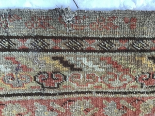 Uyghur antique carpet, East Turkestan, small defect, about a hundred years old