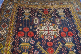 Remarkable antique Bakhtiar rug. 300x158cm, second half of 19th century.   This is a rare piece woven on wool in very good condition with a wonderful triple medallion flanked with rows of flower  ...