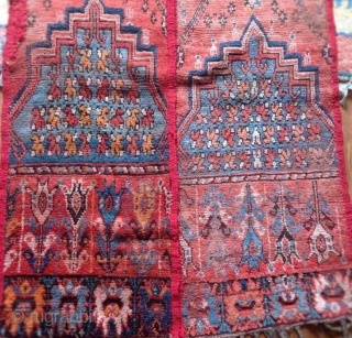antique North African moroccan carpet fragment  / tent band size , with 18th.century  turkish ladik  tulip  design
