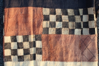 Kuba people patchwork embroidered and tie dyed Ndengese  Raffia Dance skirt panel fragment D.R. Congo early 20th.century  144 cm x 58 cm