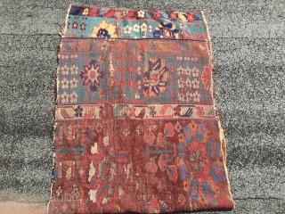 Mid 18th  century Kurdish rug fragment  unique and rare  Size 242 cm x 79 cm