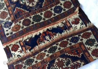 """3' 9"""" x 9' 8"""" Persian Kurd with all natural/vegetal dyes.  Small areas of wear and slight staining.  Price Includes Ship/U.S. 3 Day Returns Policy."""