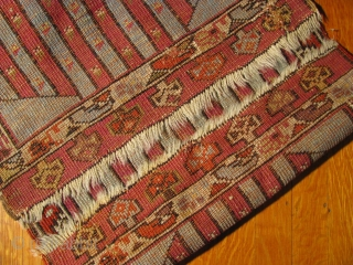 """Antique 1' 8"""" x 3' 0"""" Anatolian (Kersehir)? Yastik with small unprofessional repairs.  3 day returns policy. Price includes free ship/U.S.  Sorry, no direct overseas shipping."""