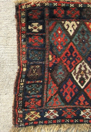 "A petite 1' 8"" x 1' 8"" Antique Jaf Kurd in very good condition and with all natural/vegetal dyes.  Free Ship/U.S.  3 day returns policy"