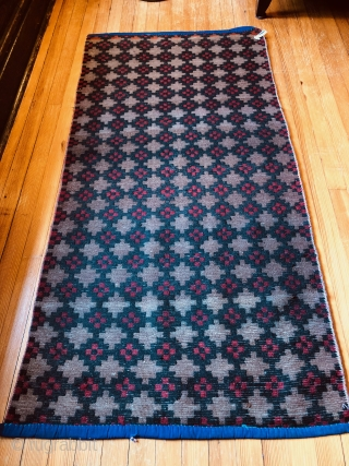 Heavy duty Khaden from Tibet. Mid 20th Century. Khadens are sleeping mats used by the Tibetan people. This one is SUPER heavy construction and full pile. Quite large as well. There is  ...