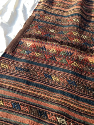 Jaff Khorjin, circa 1900, soft lustrous wool, complete, patches on back where worn; more images available.