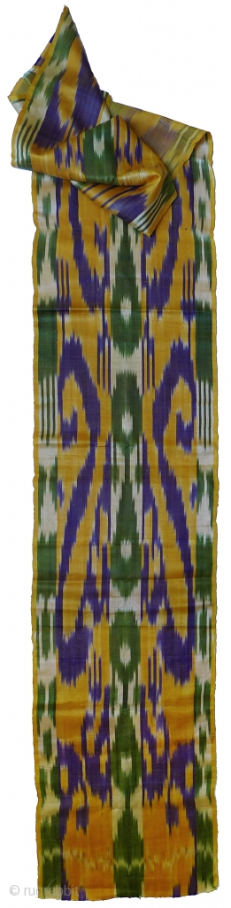 "Silk Ikat Fabric. Uzbekistan, circa 3rd quarter 20th century. 96"" x 15"" selvedge to selvedge. Single-faced. Excellent condition (the folds will iron out). Machine-woven. During the Soviet era, textile factories were built  ..."