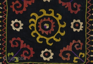 "Aina Khalta (""Mirror Bag""). Uzbekistan, 2nd quarter 20th century. 19"" x 19"" not including the 2"" fringe. Silk hand-embroidery on fine black velvet; hand made cotton fringe. Backed with Russian roller-printed cotton  ..."