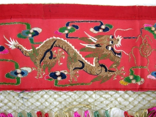 M113 Mongolian Altar cloth.   I acquired this textile in my early travels through China. Utilizing all couching embroidery technique on red wool fabric, it depicts 2 golden dragons chasing the  ...