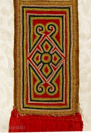T120  Woman's Tibetan Hair Braid Sleeve  During Festivals, Tibetan Woman would wear their hair braids in elaborately decorated textile sleeves.   This and many other textiles from tribal and indigenous groups  ...