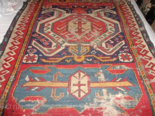 Antique  Lenkoran  about mid 19 th. century 106 X 230 cm.    Fantastic  colors , some  wear , lose  borders  at  both   ...