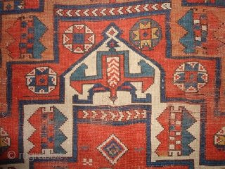 Classic  antique  Bergama / Canekale  West-Anatolien  mid 19 th. century    172 X 242 cm , komplet , shows wear , old repairs , 2 X  ...