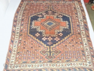 Antik  Afshar  about 1900 , 99 X 123 cm.   Wool on wool foundation,Natural colours   komplet condition with kelims ends.shows wear.