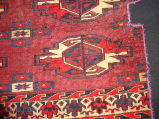 Antique  Yomud  choval  fragment  19 th.century  53 X 53 cm. Extremly fine   woven , with  very rare  light blue .