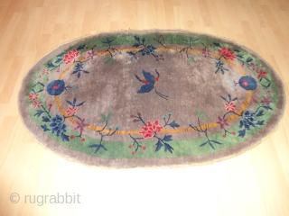Antique  Nichols  China  rug  Art-Deco   1925   56 X 74  cm.    Superb  natural  colors  , rare  oval  ...