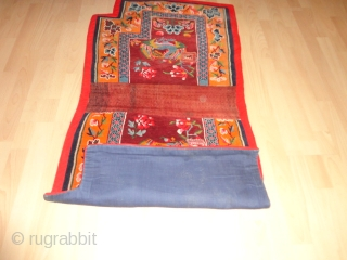 Very  fine  and  lovely  Tibetan  saddle rug  round  1920    134 X 67  cm.  Excellent  condition .