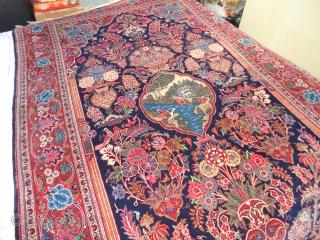 Amazing  antik  Kashan  Meditation  and Prayer  rug  central Persien   132 X 216  cm. Superb velvet  wool  , very fine weaving  ...