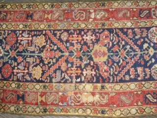 19c Northwest Persian Runner - kurdish - with old restorations and repiling - but great colours and soft wool - restorable - very elegant (Size: 290cm x 96cm)-would benefit from a wash