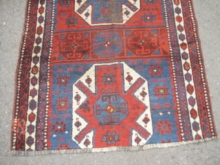 Shavak - Old/ Antique Anatolian Kurdish Carpet Fragment - Size: 150 cm x 108 cm - dirty, would benefit from a wash