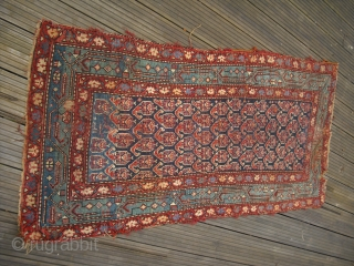 Kurdish rug Fragment - dated around 1885 - nice colours - fresh professional cleaned - terrible condition but soft wool - rare drawing - shipping worldwide possible insured