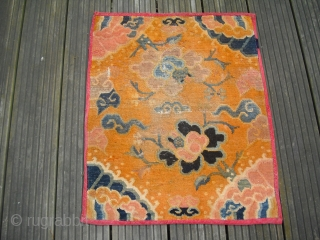 Tibet Fragment - Antique - worn condition with damages - but soft an glossy wool, size: 51cm x 83 cm / shipping worldwide