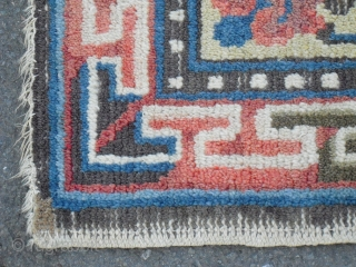 Antique chinese square - Ningxia?, size: 83 x 87 cm/ soft wool, with old restorations, would benefit from a bath