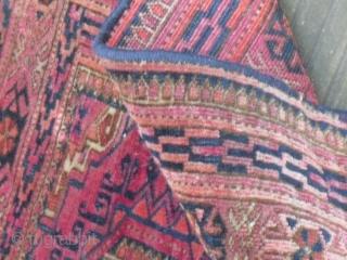 A rare Tekke chuval - very silky and velvety wool/ very fine  - one restored split - one moth bit - size: 122 x 68 cm