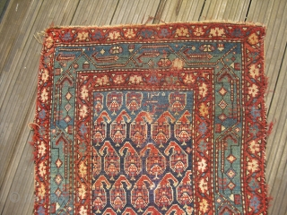 Dated Kurdish/North West Persian Carpet fragmentary Rug - very clean - great natural colors, worn condition - 19th century