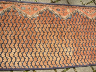 Antique unique SERABEND Carpet Fragment - probably from the End of the 19th century, blue color has been corroded - very decorativ (Size: 75 cm x 222 cm)