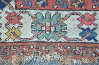 Moghan Fragment ca.1800 with fantastic colors. As found condition, unwashed. 205 x 83 cm
